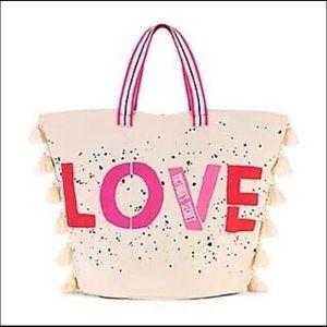 Victoria's Secret Love Teaseled Tote Bag Canvas